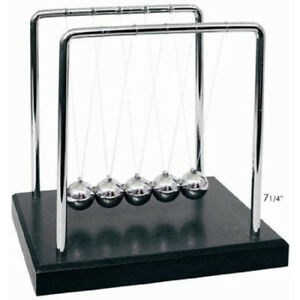 Newton s Cradle With 1 Inch Balance Balls And 7 25 X 4 6 Black Wooden Base