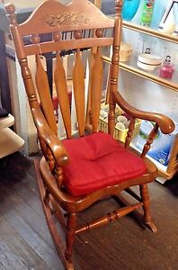 Early Americana Vtg Antique Oversized Solid Oak Rocking Chair Stenciled Headrest