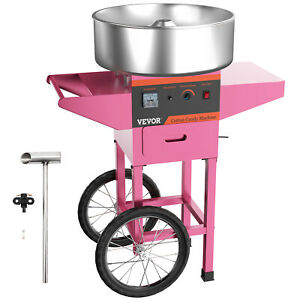 Electric Commercial Cotton Candy Machine Floss Maker Pink Birthday With Cart