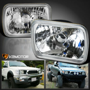 2pc 7x6 Sealed Beam H4 Clear Headlights H6014 H6052 H6054 H4 Bulbs