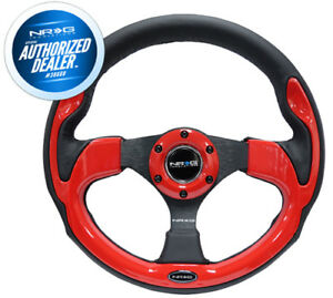 New Nrg Black Leather Steering Wheel W Red Trim Authorized Dealer Rst 001rd