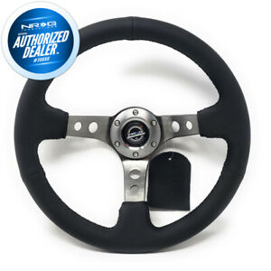 New Nrg 350mm 3 Deep Dish Steering Wheel Black Leather Gun Metal Rst 006gm