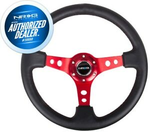 New Nrg Deep Dish Steering Wheel 350mm Black Leather Red Spoke 3 Deep Rst 006rd