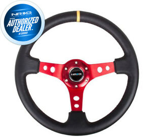 New Nrg Steering Wheel 350mm Black Leather Red Spoke 3 Deep Dish Rst 006rd Y