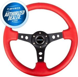 New Nrg 350mm Steering Wheel Deep Dish Red Leather Black Stitch Rst 006rr Bs