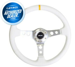 New Nrg 350mm 2 Deep Dish Steering Wheel White Leather Silver Spokes Rst 006wt Y
