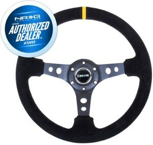 New Nrg Deep Dish Series Steering Wheel 350mm Suede W Yellow Mark Rst 006s Y