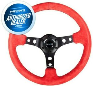 New Nrg Deep 3 Dish Steering Wheel 350mm Red Suede Black Center Rst 006s Rr