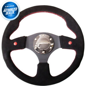 New Nrg Sport Steering Wheel Dual Button Black Suede 320mm Red Stitch Rst 007s