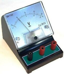 Bench Top Dc Voltmeter 0 3v 0 15v Analogue Meter Education Schools Colleges Etc