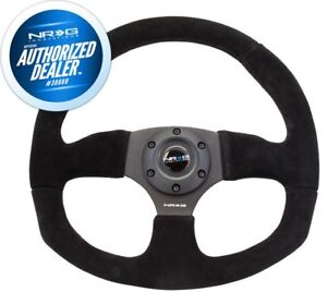 New Nrg Race Style Steering Wheel Black Suede With Black Stitch 320mm Rst 009s