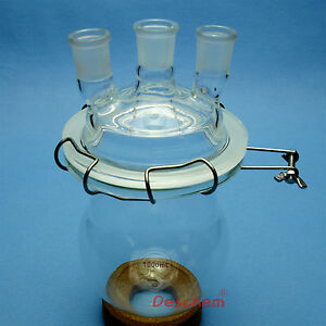1000ml 24 29 Glass Reaction Vessel 1 L 3 neck Lab Reactor With Lid