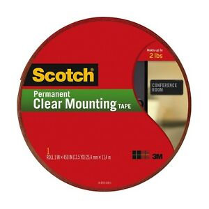 Scotch Clear Mounting Tape 4010 long 1 Inch X 450 Inches 2 Pack