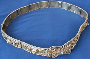 Imperial Russian Silver Gilt Belt Mark 84 Filigree Turquoise Sterling Cassack