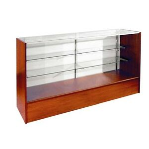 4 Full Vision Retail Glass Display Case In Walnut Will Ship