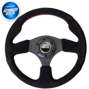 New Nrg Steering Wheel Black Suede W Red Stitch 320mm Type r Style Rst 012s rs