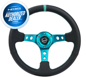 New Nrg Deep Dish Steering Wheel 350mm Black Leather Teal Center Mark Rst 006tl