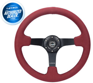 Nrg Deep Dish Steering Wheel 350mm Black Suede Blue Center Limited Rst 016s Nb