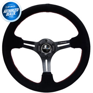 New Nrg Deep Dish Steering Wheel 350mm Black Suede W Red Stitching Rst 018s Rs