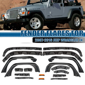4pc Textured Unlimited Fender Flares Flat Style Steel For 07 16 Jeep Wrangler Jk