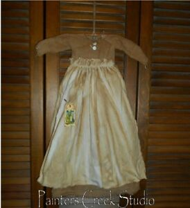 Primitive Wall Cupboard Decor Dress Tan Check W Apron Folk Art Country Grungy