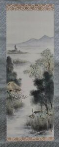 Fine Rare Korea Korean Ink And Color On Silk Landscape Scroll Boxed