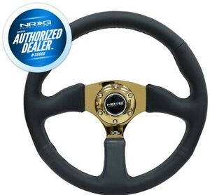 New Nrg 350mm Racing Steering Wheel Gold Spokes Black Leather Rst 023gd R