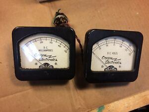 Pair Of Vintage Oregon Dc Volts Milliamperes Meters Black Bakelite Gauges