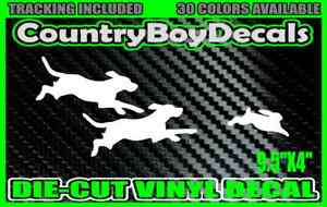 Dogs Chasing Rabbit Beagle Hounds Vinyl Decal Sticker Hunting Coon Diesel Truck