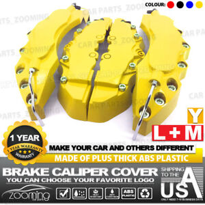 4x Brake Caliper Covers Universal Car Style Disc Yellow Front Rear Kits L m Lw04