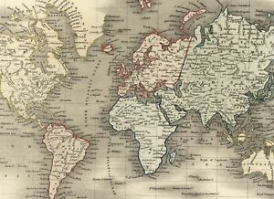 World Mercator S Projection Continents Countries Oceans C 1840 Old Dower Map