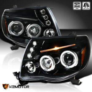 For Jet Black 2005 2011 Toyota Tacoma Led Dual Halo Projector Headlights L R