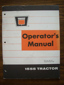 Oliver 1555 Owners Manual