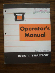 Oliver 1950 t Owners Manual