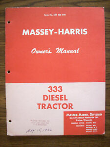 Massey Harris 333 Diesel Owners Manual