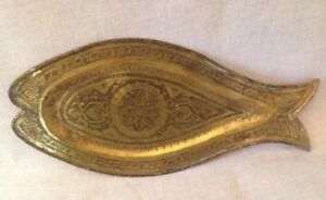 Antique Copper Golden Large Fish Form Shaped Plate Platter Tray Hand Forged