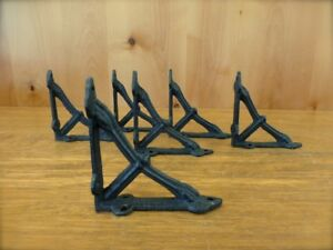 6 Small Brown 4x4 Wall Shelf Brackets Antique Style Rustic Cast Iron Bow Design