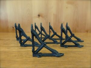 8 Small Brown 4x4 Wall Shelf Brackets Antique Style Rustic Cast Iron Bow Design