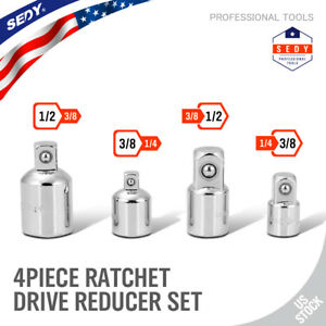 4 Pc Adapter And Reducer Set Ratchet Wrench Socket Drive 3 8 1 4 1 2 Extend