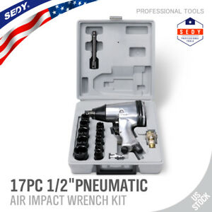 17pc 1 2 Dr Air Impact Wrench Set With Sockets Inline Filter Extension Bar