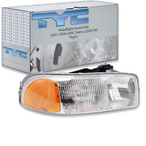 Tyc Right Headlight Assembly For 2001 2006 Gmc Sierra 2500 Hd Pr
