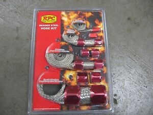 Red Stainless Steel Braided Hose Kit