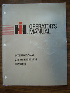 Ih Farmall Mccormick International 234 234 Hydro Owners Manual