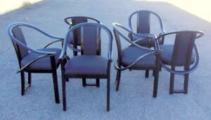 Set 6 Italian Chairs Dining Black Lacquer Mcm Post Modern Pietro Constantini