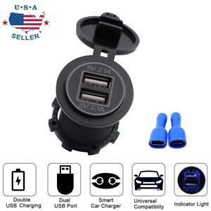 4 2a Dual Usb Port Charger Socket Outlet Waterproof 12v Led For Motorcycle Car
