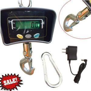 Digital Crane Scale 500kg 1100 Lbs Industrial Hook Hanging Weight Heavy Duty Us