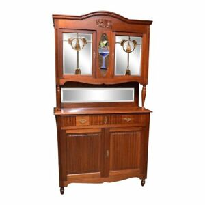 Vintage European Style 2 Piece Mahogany Hutch W Stained Glass Panels
