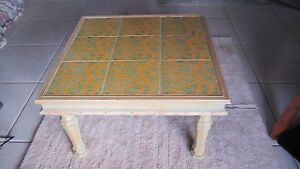 Vintage Mission Style Tile Square Top Coffee Table