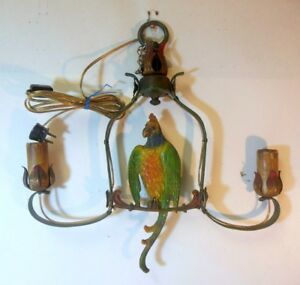 Rare Vintage Cast Iron Parrot Hanging Light Fixture Ceiling Lamp