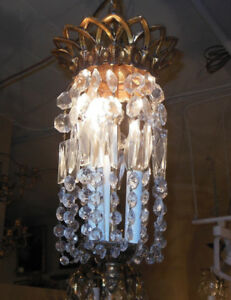 Vintage Pendant Light Fixture Chandelier Clear Glass Prisms Lattice Crown Top